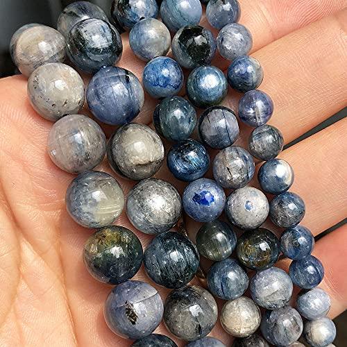 Cianita Azul Natural Auténtico Piedra Piedra Piedra para joyería Fabricación 6 8 10mm Beads redondas Espaciadoras Pulsera suelta DIY Accesorios 15-8mm (aproximadamente 46pcs)