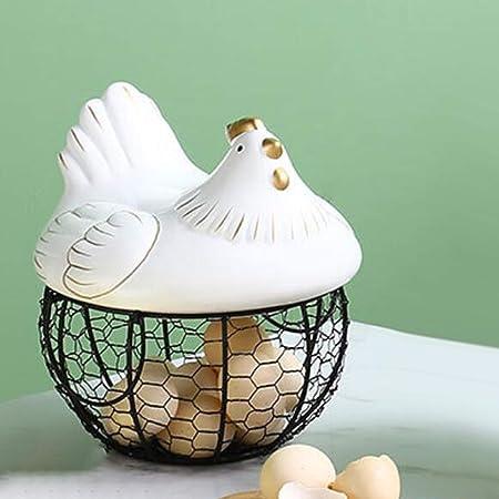 per snack e frutta per la decorazione della cucina cestino per uova cestino decorativo da cucina Portauova a forma di pollo in ceramica metallica