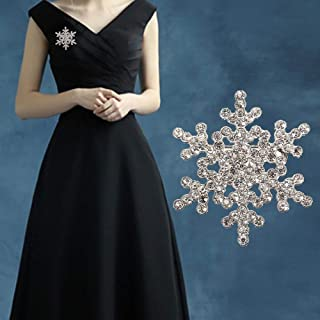 Rhinestone Crystal Bridal Wedding Snowflake Snow Flower Bouquet Cake Brooch Pin Rings for Women Silicone Wedding Ring Nose Belly Button Women Men (Gold)