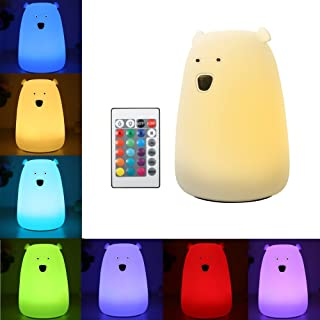 Solmore Night Lights for Kids LED Bear Silicone Baby Toddler Bedside Lamps for Bedrooms Wireless Remote/ 16-Colors/Adjusta...