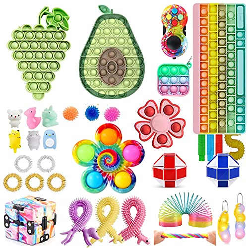 Fidget Toy Set, Fidget Pack Pop Bubble it Anti Stress Sensory Fidget Toy with Pop Anxiety Tubes Fidget Spielzeug Set für Kinder (Pop Fidget It-6)