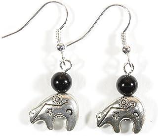 Zuni Talisman, Pewter Zuni Bear Earrings, Dangle 1.5 Inches