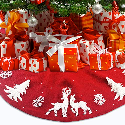 HEIMI 3D Knitted Christmas Red Tree Skirt 48 Inch | Merry Christmas Tree Skirt Decorations | Xmas Holiday Home Office Decorations | Christmas Indoor Outdoor Decorations