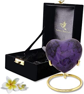 Purple Heart Keepsake Urn - Mini Ash Urn with Free Premium Velvet Box & Display Stand - Small Handcrafted Cremation Urn fo...