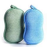 BabaMate Natural Bamboo Baby Bath Sponge - 2 Pack - Ultra Soft & Absorbent Sponge For Baby's Skin - Green Blue