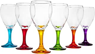 Studio Silversmiths Multi Color Set 6 Wine Glasses