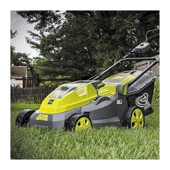 Sun Joe iON16LM 40-Volt 16-Inch Brushless Cordless Lawn Mower, Kit (w/4.0-Ah Battery + Quick Charger), ION16LM 6 For use with iBAT40 Series 40 V lithium-ion batteries and iCHRG40 and iCHRG40QC chargers - sold separately No pull cords, gas, oil, tune-ups, carbon emissions or tangled extension cords Powerful brushless motor increases battery efficiency, maximizes motor performance, decreases noise and vibration and extends motor life