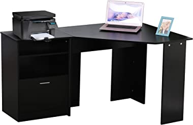 HOMCOM Computer Desk w/Printer Cabinet L-Shaped Wood Corner Table Desk Workstation Gaming PC Gaming Laptop Desk Home Office Study Small Space, Black