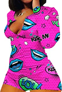 RUEWEY Women V-Neck Shorts Jumpsuit One Piece Bodysuit Pajama Long Sleeve Bodycon Rompers Overall