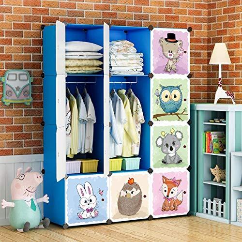 BRIAN & DANY Cartoon Clothes Closet Wardrobe DIY Modular Storage Organizer, Sturdy and Safe for Children, 8 Cubes & 2 Hanging Sections, Blue, 110 x 47 x 147 cm