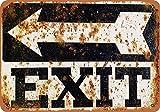 Exit Sign Étain Mur Signe Affiche de Fer Métal Mur étain Panneau Attention Plaque Rétro décoration Murale pour Café Bar Hôtel Jardin Parc