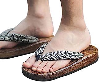Panda Legends Zuecos de madera japoneses para hombres Sandalias Japón Zapatos planos tradicionales antideslizantes Geta