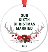 Sixth Christmas Married Ornament 2019 Six 6 Years Together Husband Wife Mr & Mrs Anniversary Keepsake Gift Couple Woodsy Antlers Boho Floral Tree Decoration Ceramic 3