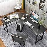 Home Office Computer Desk L Shaped Corner Workstation Table with Footrest Sturdy Wooden Top Metal Frame Modern Design for Study Gaming Working (Black)…