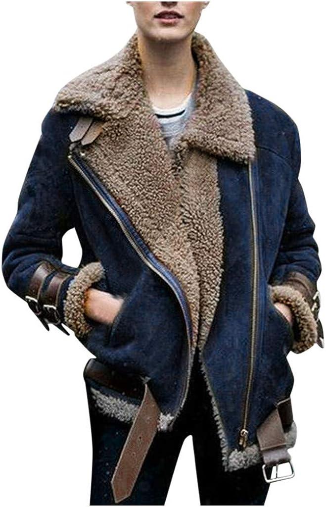 KYLEON Women's Coat Warm Thicken Fleece Lapel Coat Pea Coat Parkas Trench Coat Jacket Overcoat Outwear Plus Size with Pockets