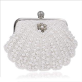 DIEBELLAU Ladies Fashion Beaded Dinner Bag Women's Pearl Banquet Bag Evening Clutch Bag (Color : White, Size : XS)