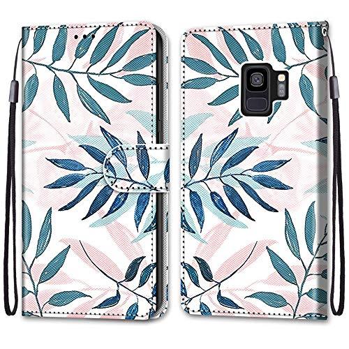 Nadoli Handyhülle Leder für Samsung Galaxy S9,Bunt Bemalt Rosa Grün Blätter Trageschlaufe Kartenfach Magnet Ständer Schutzhülle Brieftasche Ledertasche Tasche Etui