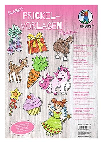 Blanko Prickelvorlagen für Mädchen mit 27 Prickelbildern