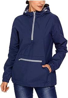 Lrud Women's Raincoat Active Outdoor Waterproof Rain Jacket Hooded Windbreaker