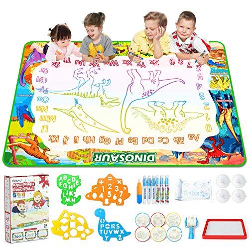 FUNOVA Wasser Doodle Matte 150*100cm XXL Aqua Doodle Malmatte mit Wasserstift Groß Magic Wasser Zeichnen Kinderspielzeug Lernspielzeug Geschenk Spielzeug für Jungen Mädchen Kinder 3 4 5 6 7 Jahren