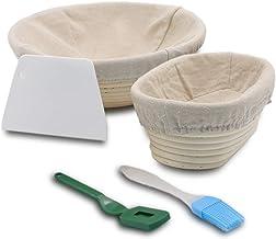 مجموعة سلة يدوية الصنع مقاومة للخبز، مستديرة 25.4 سم، لافتة راتان طبيعية بيضاوية مع بطانة من الكتان + قلم تحديد لتحديد الخ...