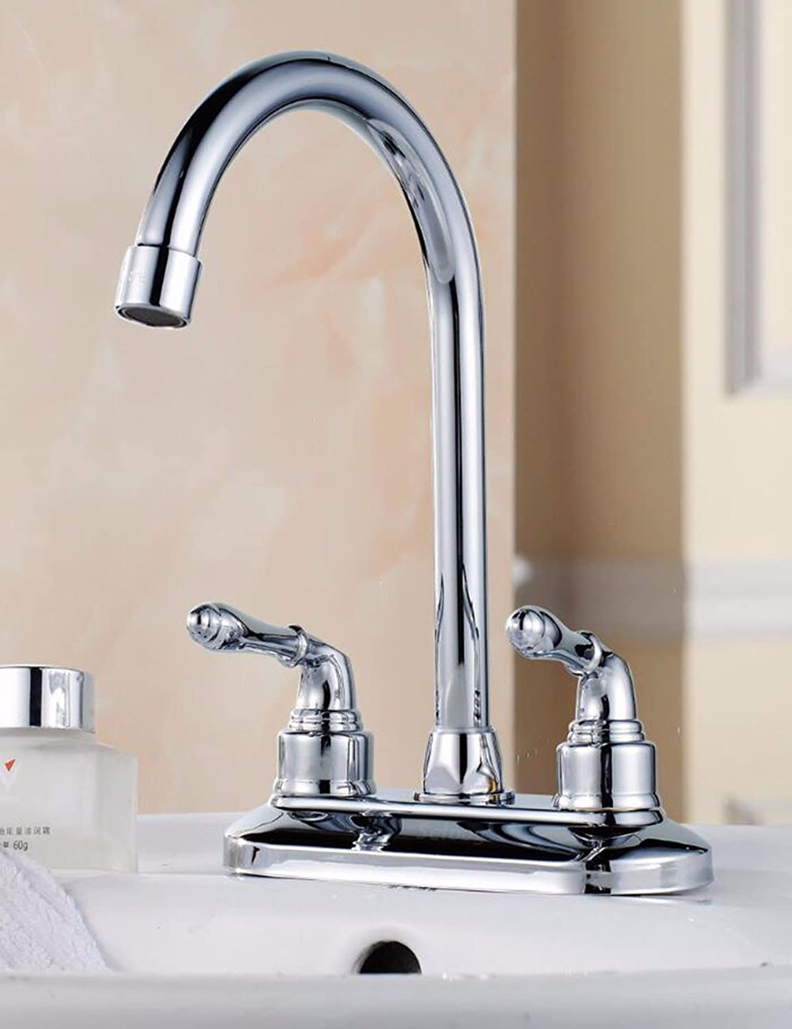Hlluya Professional Sink Mixer Tap Kitchen Faucet Wash Basin Washbasin Faucet, double-double on high bend basin faucet, heating and cooling can redate the faucet