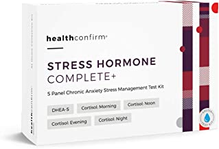 HealthConfirm Stress Hormone Complete Full Day Adrenal Stress Balance Saliva Collection Test Kit, Cortisol 4X and DHEA-S ( 5 Panel)