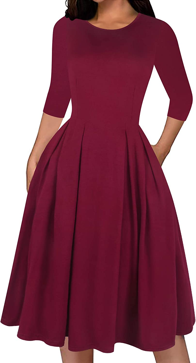 Sakaly Women's Fit and Flare Casual Dresses Vintage Pockets Solid Blank Party Swing A Line Dress SK365