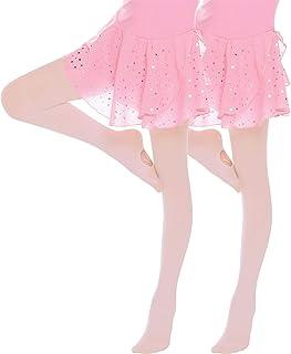Hawiton 2 Pcs Kinder Ballett Strumpfhose Tanzstrumpfhose mit Fußteil Stützstrumpfhose Professionelle Tanz Leggings Balletequipment für Kinder