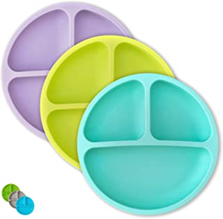 Kids Plates - Toddler Plates - Silicone Plate with Dividers for Baby, Kids & Toddlers (Teal/Lime/Lavender)