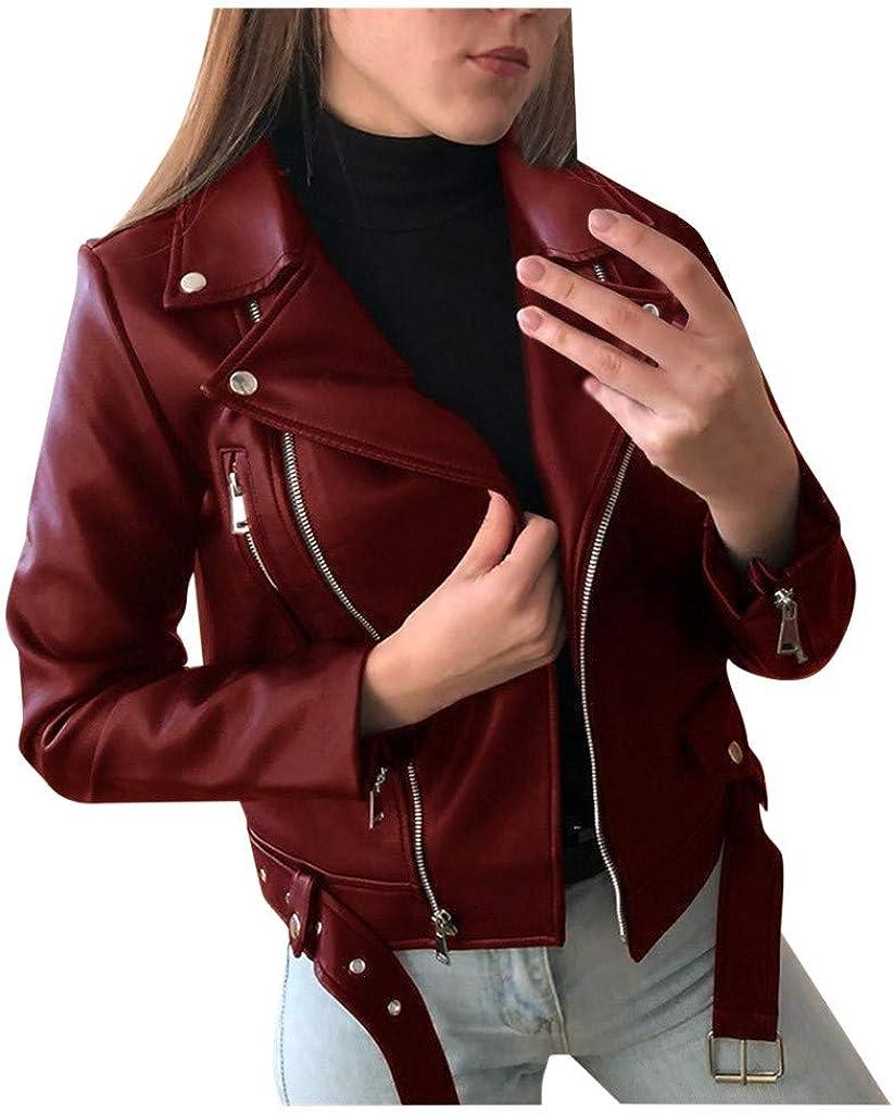 Misaky Winter Jacket Women Cool Faux Leather Jacket Long Sleeve Zipper Fitted Coat Fall Short Jacket