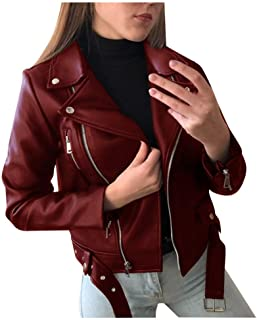 Women Coat Warm Outwear Leather Jacket Big Fur Collar Short Tops Motorcycle Club