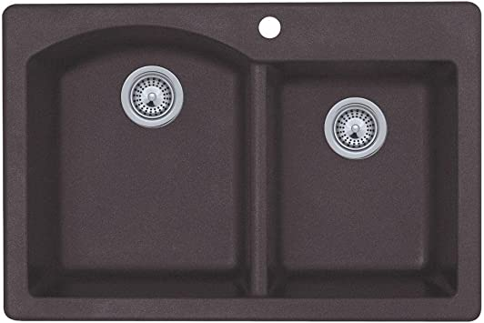 Swanstone Qz03322db 077 Granite 1 Hole Dual Mount Double Bowl Kitchen Sink 33 In L X 22 In H X 9 In H Nero Black Granite Kitchen Sink Amazon Com