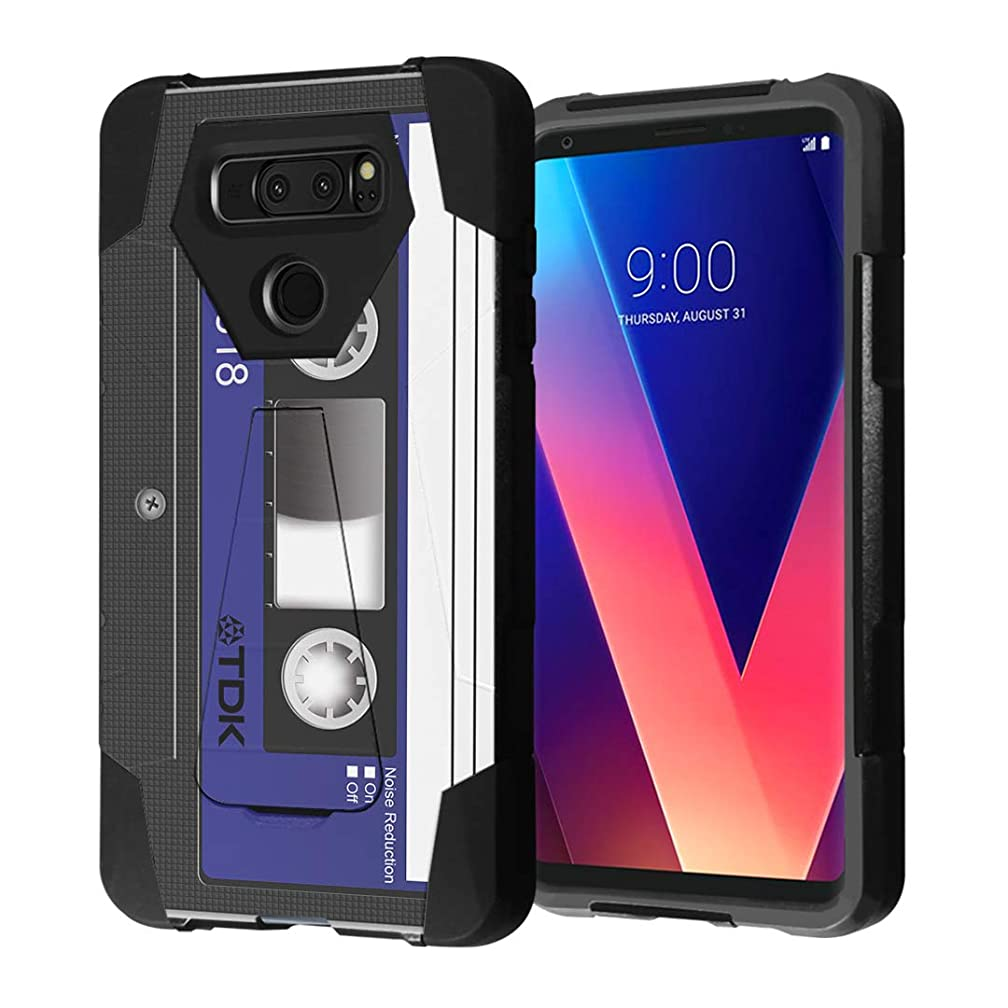 Capsule Case Compatible with LG V30, LG V30 Plus, LG V30S ThinQ, V35 ThinQ [Hybrid Fusion Dual Layer Shockproof Combat Kickstand Case Black] - (Blue Cassette Tape)