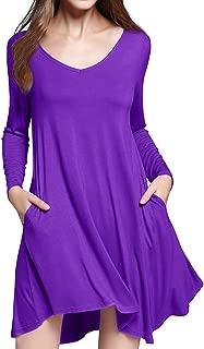 Women's Long Sleeve Casual Loose T-Shirt Pocket Dress with Irregular Hem