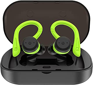 True Wireless Earbuds Bluetooth 5.0 Headphones with Mic HiFi Bass IPX7 Waterproof TWS Stereo Headsets Noise Cancelling Earphones up to 15 Hours with Battery Charging Case (Green)