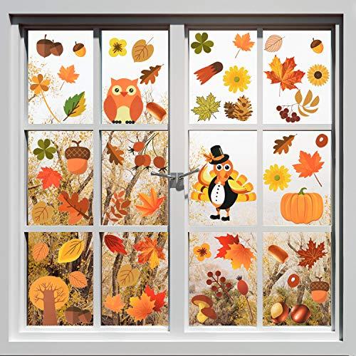 Outus Herbst Blätter Fenster Haftet Thanksgiving Truthahn Aufkleber Herbst Ahorn Dekorationen für Thanksgiving Party Dekor Ornamente (18 Blätter)