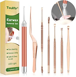 Ear Cleaner, Earwax Removal Kit, Earwax Removal Tools Safely and Gently Cleaning Ear Canal at Home, Exfolimates, Earwax Cleaners, Ear Cleansing Tool 7 Set with Storage Box