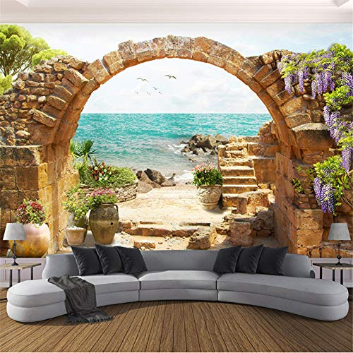 Wuyii Beach Sea Wave 3D-fotobehang personalisatie, zelfklevend, PVC 120 x 100 cm.