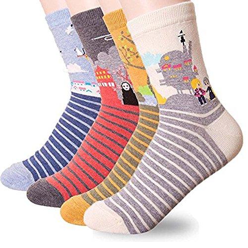 Okie Okie Damen-Socken, Tiermotive, Cartoon-Charaktere, Weihnachtsgeschenk für Sockenliebhaberinnen Gr. One size, Amine - Miyazaki 4 Stück
