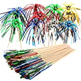 FANDAMEI 100 Pieces Foil Frill Firework Cupcake Picks Party Cake Toppers Food Picks for Party Decoration (9 Inch,Multicolor)