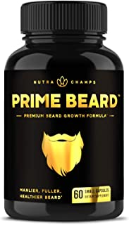 Prime Beard Beard Growth Vitamins Supplement for Men - Thicker, Fuller, Manlier Hair - Scientifically Designed Pills with ...