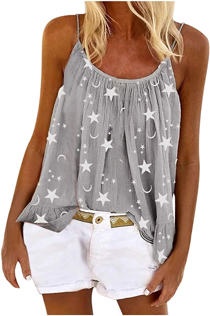 Womens Tank Tops, Women Cami Top Plus Size Strappy Flared Print Sleeveless Summer Loose Fit Vest Tunic Shirts Blouse
