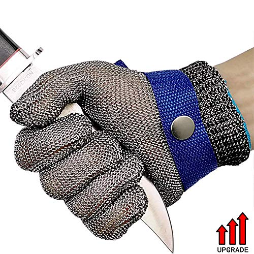 Cut Resistant Gloves,Upgarde Mesh Stainless Steel Wire Metal Butcher Safety Work Gloves for Cutting, Slicing Chopping and Peeling (Medium)