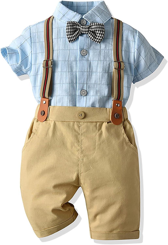 JEEYJOO Kids Boys Gentleman Formal Outfits Set Shirt and Suspender Shorts Wedding Tuxedo Outfits