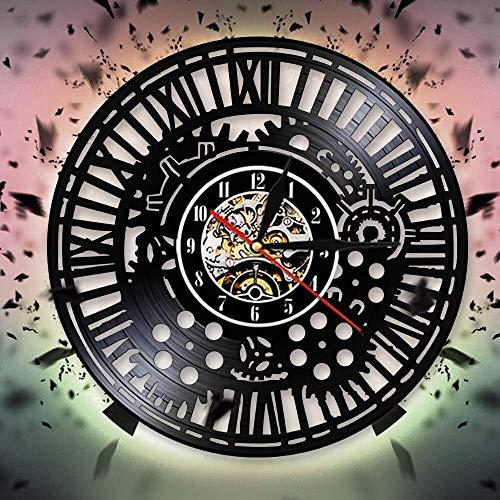 GANG 12 Pulgadas Personalizada Personalizada Led Steampunk Wall Reloj de Pared Decorativo Wall Reloj Retro Vinilo Récord Reloj de Pared Ciclismo Bicicleta Fan Gafas Regalo Hecho a Mano Mural