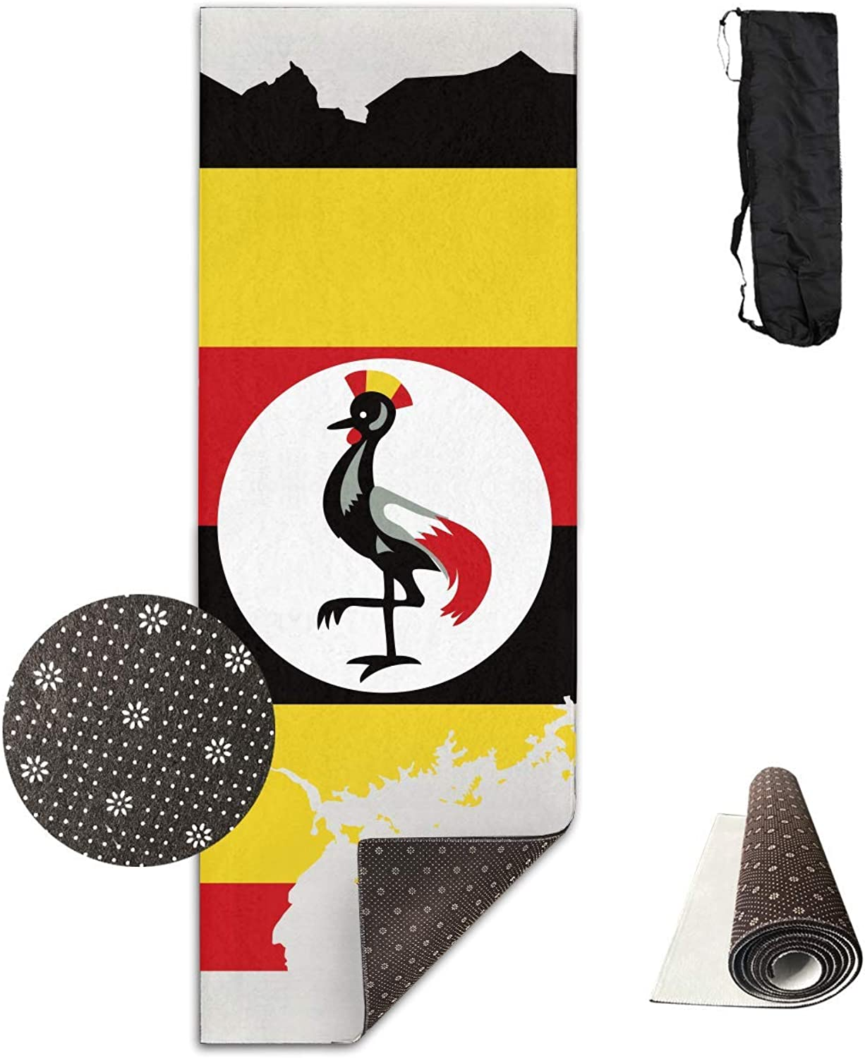 Uganda Flag Map Yoga Mat  Advanced Yoga Mat  NonSlip Lining  Easy to Clean  LatexFree  Lightweight and Durable  Long 180 Width 61cm