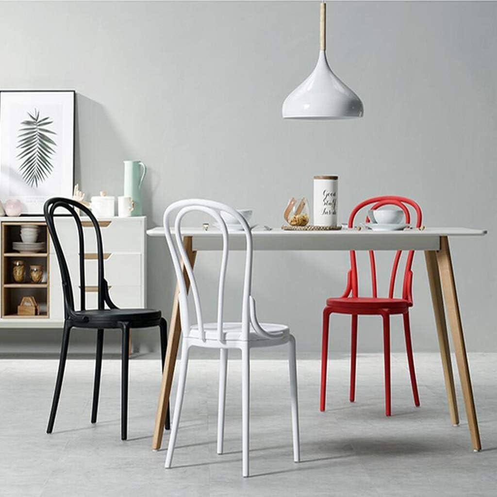 XUEYAN DLDL Plastic Dining Chair Tabouret de Dossier de Maison Minimaliste Moderne (Couleur : Rouge) Noir