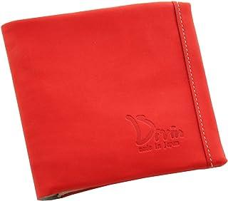 Divin メンズ レディース ユニセックス ラウンド 二つ折り財布 小銭入れ グローブ用レザー使用 レッド【DV-014】