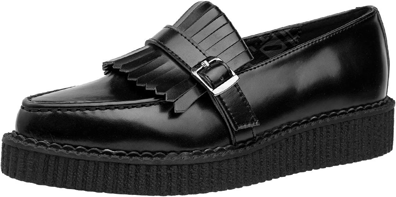 T.U.K. schuhe schwarz Leather Slip On Pointed Loafer